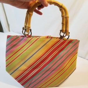 Talbots Bamboo Handles Colored Purse Stripe